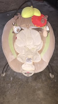 Baby's Fisher-Price brown and green bouncer