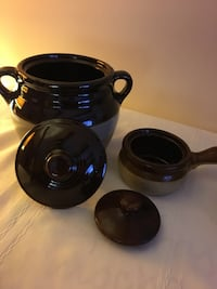 Pottery set bean pot with lid