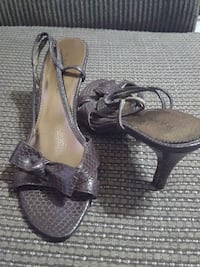 pair of brown snakeskin leather open-toe slingback Oklahoma City, 73109