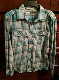blue and white plaid button-up shirt Slidell, 70461