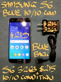 Trade or Firm$215..BLUE SAMSUNG S6 32B+charger Pointe-Claire, H9R