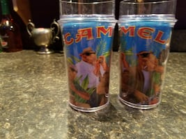 Set of 2 tall Camel Cigarette collector's glasses