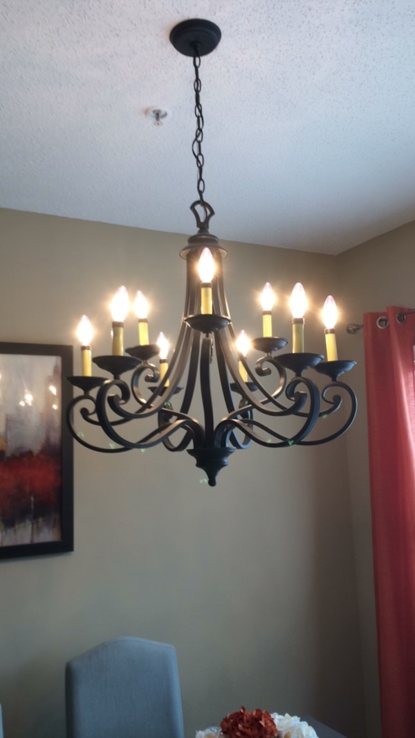 Used Black Wrought Iron Dining Room Chandelier Thanks For Sale In Woodstock