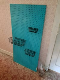 Teal Pegboard for Crafting