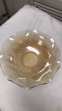 frosted amber  rose and leafs  bowl  11x31/2  beautiful College Station, 77845