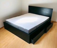 Black Queen Bed Frame with 4 Drawers