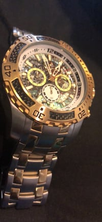 Round gold-colored chronograph watch with link bracelet Woodbridge, 22191