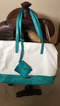 women's white and teal leather tote bag with coin purse 1463 mi