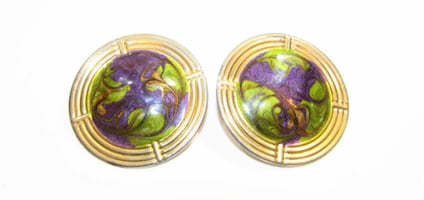 1980'S VINTAGE GOLD TONE PURPLE, GREEN, AND GOLD MARBLED EARRINGS