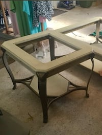 End Table w/ Glass Top 28 x24...