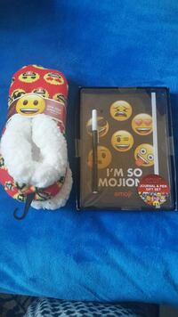 emoji socks and Journal with pen.