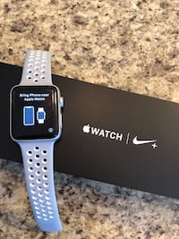 silver aluminum case Apple Watch with white sports band Markham, L6B 0Z1