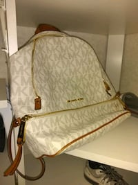 white and brown Michael Kors monogram leather cros Hurst, 76053