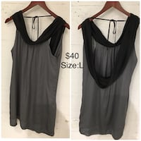 women's size Large gray and black sleeveless blouse photo collage