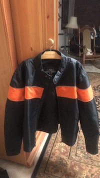 Motorcycle jacket zip outlining new condition