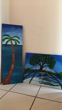 Hand painted Blue and green palm tree/banyan trees. Both for the price Port Saint Lucie, 34983