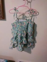 green, black, and pink floral spaghetti strap shirt