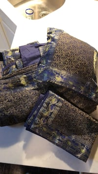 Blue and brown floral textile 317 mi