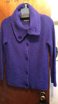 Purple button-up sweater/jacket -$15