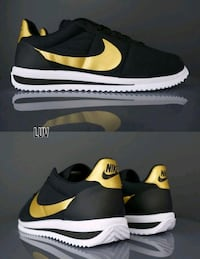 collage di sneakers Nike Cortez oro e nero