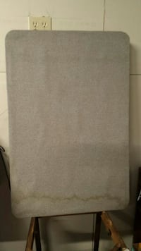 Corkboard with gray burlap cover