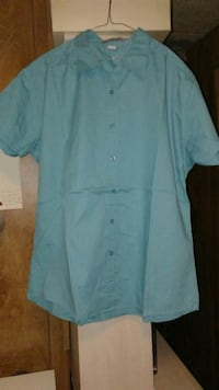 Ladies Lite Turquoise Button -Up Shirt. Size XL. New Waverly