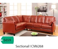 brown leather sectional sofa with ottoman Lakewood, 90712