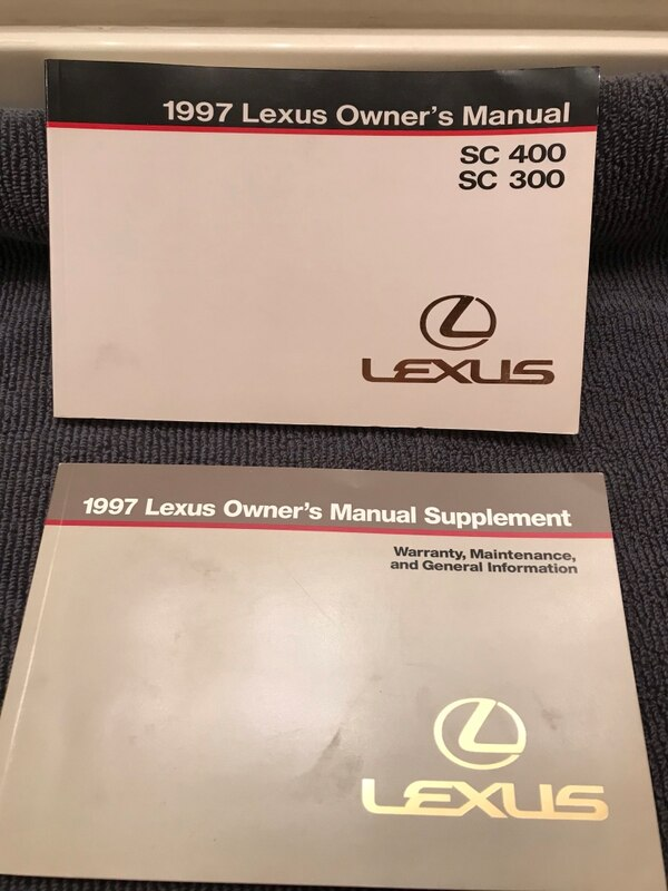 1997 Lexus SC 300,400 original owners manuals