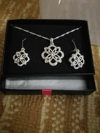 silver-colored necklace and earrings set
