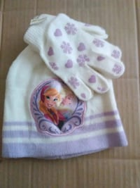 white and pink winter hat and gloves for girl Lake