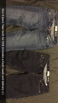 two pairs of gray and black jeans Thunder Bay, P7C