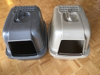Beige hooded filtered litter box