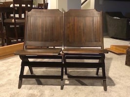 Beautiful antique theatre chairs  Vintage tandem theatre chairs