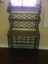 black metal framed brown wooden bakers rack Baltimore, 21225