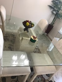 White wooden framed glass top table Hutto, 78634