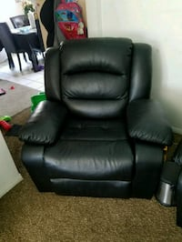 black leather recliner sofa chair.