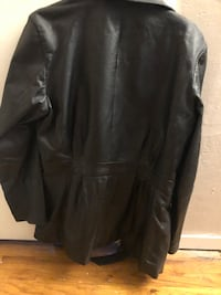 Woman's Black Learher Bomber Jacket