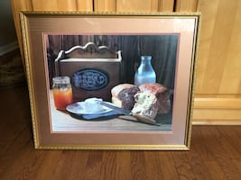 Very Cute bread and break basket framed picture.