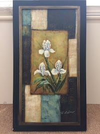 Brown wooden framed painting of white petaled flower Virginia Beach, 23452