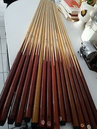 red-and-brown wooden cue sticks Edmonton