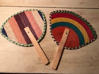 """MEXICAN HANDMADE FANS! Never used. About 10""""x7"""". VERY sturdy. $8 for BOTH fans! Potomac, 20854"""