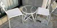 white metal frame glass top table Vancouver, V6G 1K5