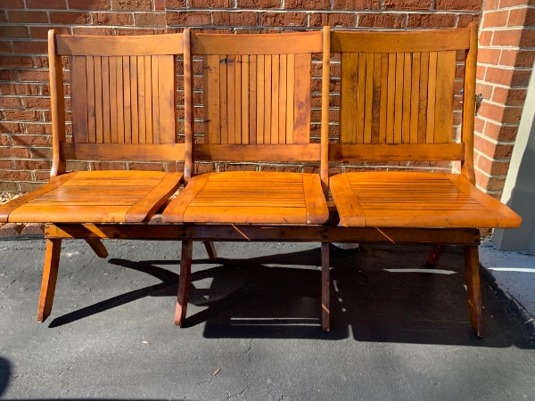 Strange Vermont Antique Theatre Folding Chairs Caraccident5 Cool Chair Designs And Ideas Caraccident5Info