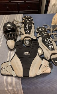 Used catchers equipment Mizuno Samurai Edition. Black and White