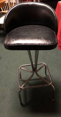 One Black Vinyl Top Bar Chair Stool
