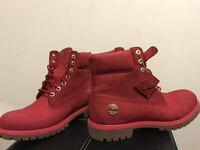 pair of ruby red waterbuck Timberland premium work boots Mississauga, L4T 3T6
