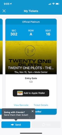 21 pilots tickets, I paid 380 I'll take 300 or make me an offer, just want to get rid of them Vancouver, 98686