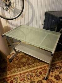 rectangular glass top table with gray metal base Candiac, J5R 6C5