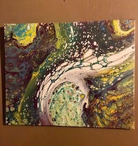 Green and white abstract painting 16x20 canvas St. Louis