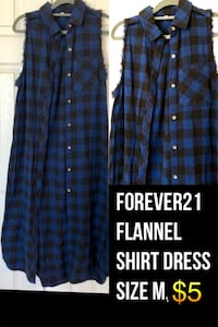 Forever21 flannel shirt dress! Size M 14 km